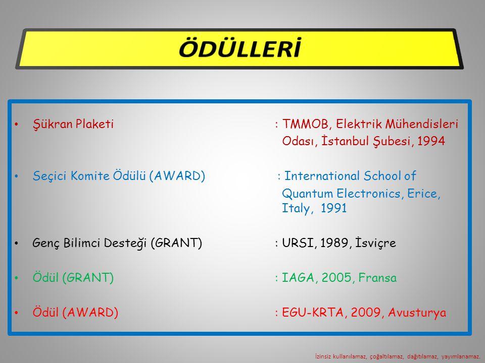 Şükran Plaketi : TMMOB, Elektrik Mühendisleri Odası, İstanbul Şubesi, 1994 Seçici Komite Ödülü (AWARD) : International School of Quantum Electronics, Erice, Italy, 1991 Genç Bilimci Desteği (GRANT) : URSI, 1989, İsviçre Ödül (GRANT) : IAGA, 2005, Fransa Ödül (AWARD) : EGU-KRTA, 2009, Avusturya İzinsiz kullanılamaz, çoğaltılamaz, dağıtılamaz, yayımlanamaz.