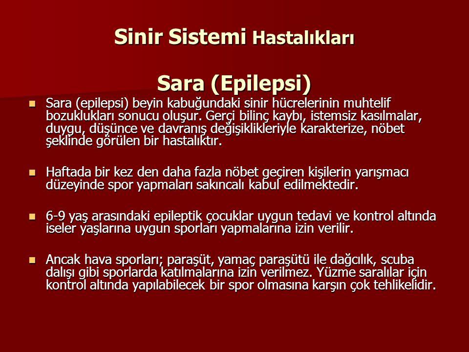 Sinir Sistemi Hastalıkları Sara (Epilepsi) Sara (epilepsi) beyin kabuğundaki sinir hücrelerinin muhtelif bozuklukları sonucu oluşur. Gerçi bilinç kayb