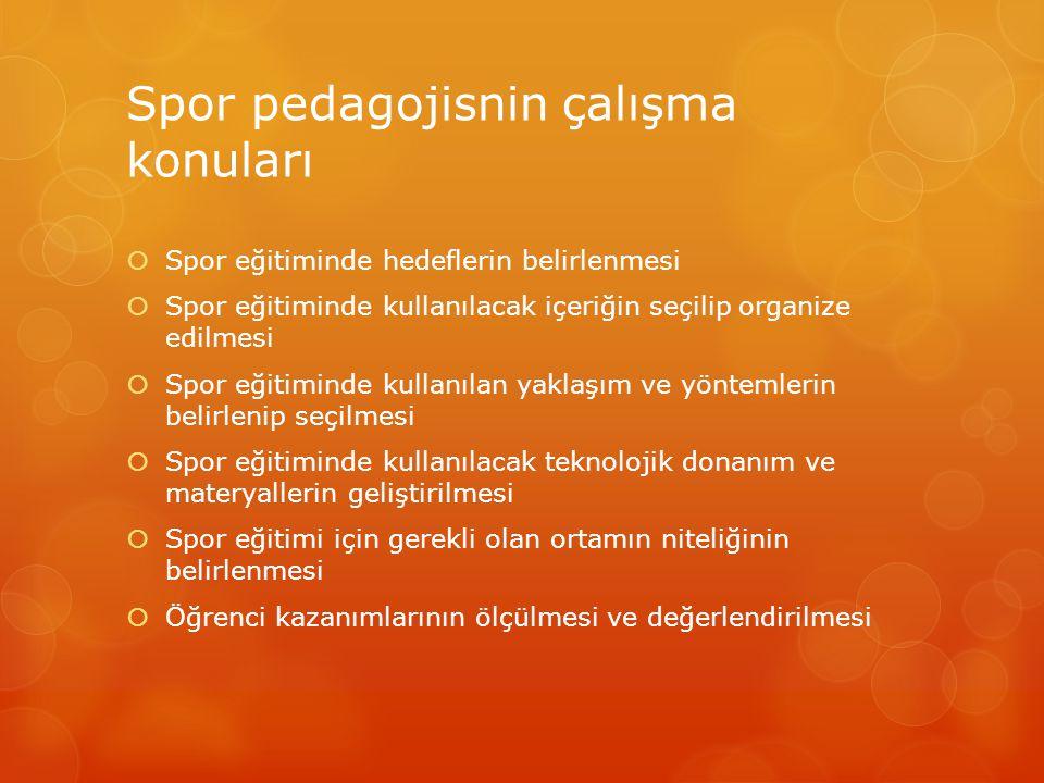 Spor pedagojisnin çalışma konuları  Spor eğitiminde hedeflerin belirlenmesi  Spor eğitiminde kullanılacak içeriğin seçilip organize edilmesi  Spor