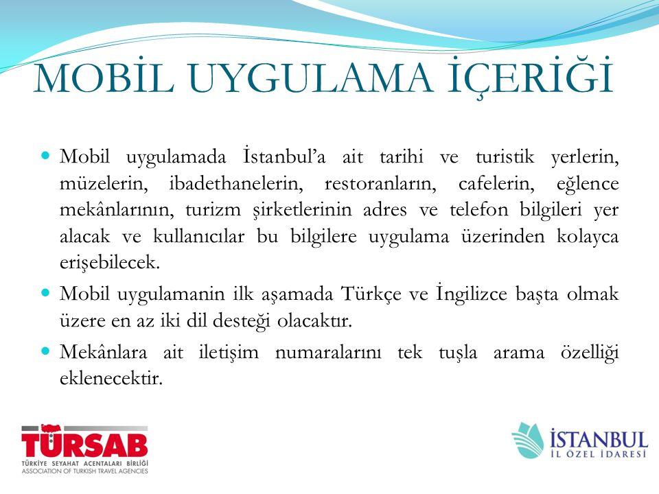 MOBİL UYGULAMA İÇERİĞİ Mobil uygulamada İstanbul'a ait tarihi ve turistik yerlerin, müzelerin, ibadethanelerin, restoranların, cafelerin, eğlence mekâ