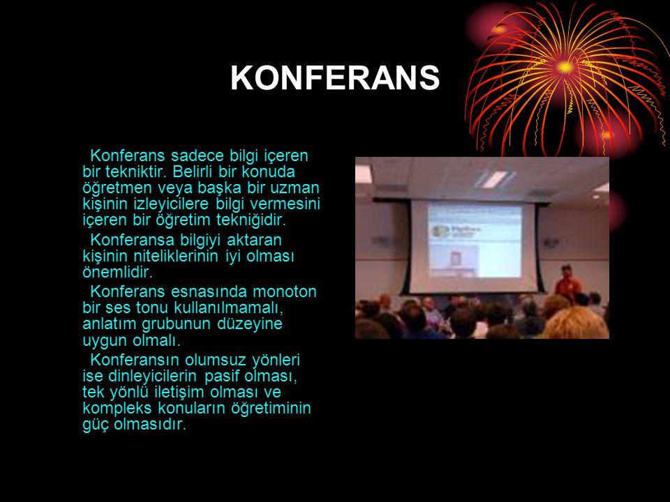KONFERANS Konferans sadece bilgi içeren bir tekniktir. Belirli bir konuda öğretmen veya başka bir uzman kişinin izleyicilere bilgi vermesini içeren bi
