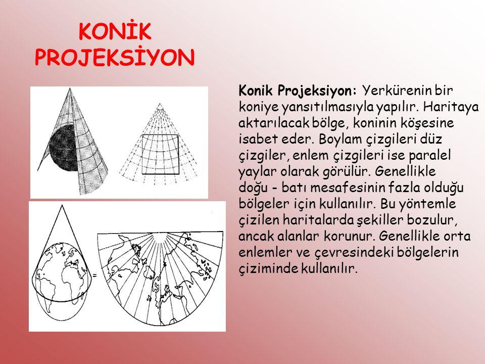 KONİK PROJEKSİYON Konik Projeksiyon: Yerkürenin bir koniye yansıtılmasıyla yapılır. Haritaya aktarılacak bölge, koninin köşesine isabet eder. Boylam ç