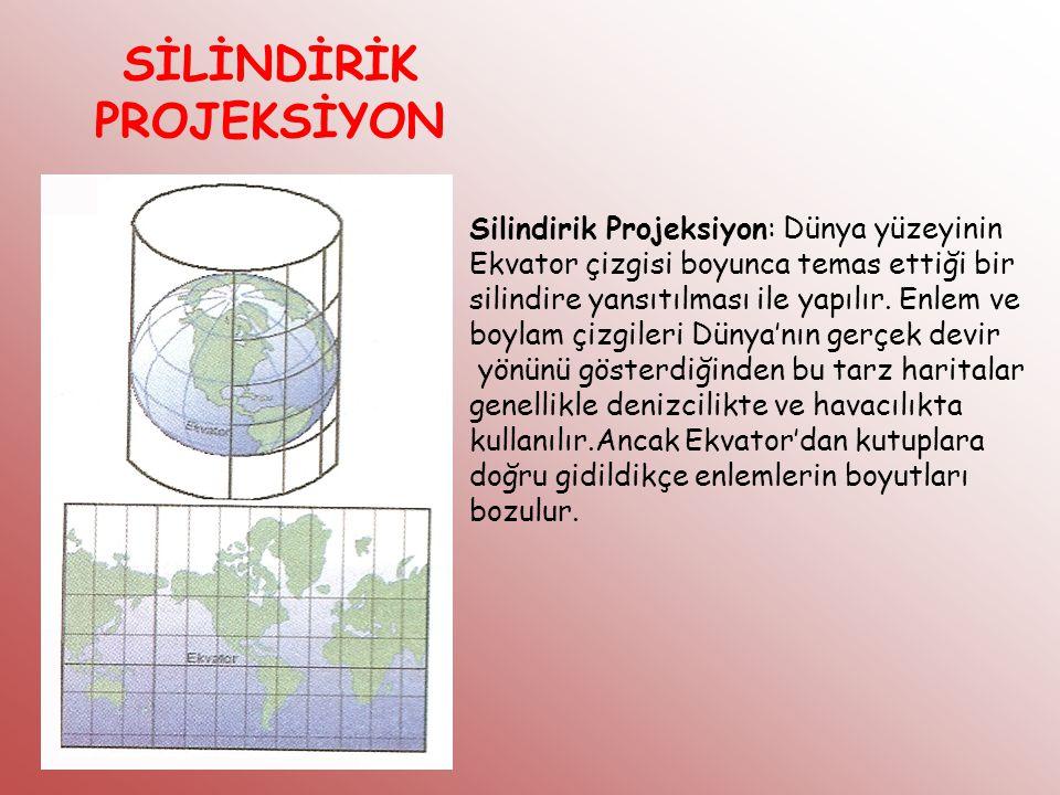 SİLİNDİRİK PROJEKSİYON Silindirik Projeksiyon: Dünya yüzeyinin Ekvator çizgisi boyunca temas ettiği bir silindire yansıtılması ile yapılır. Enlem ve b