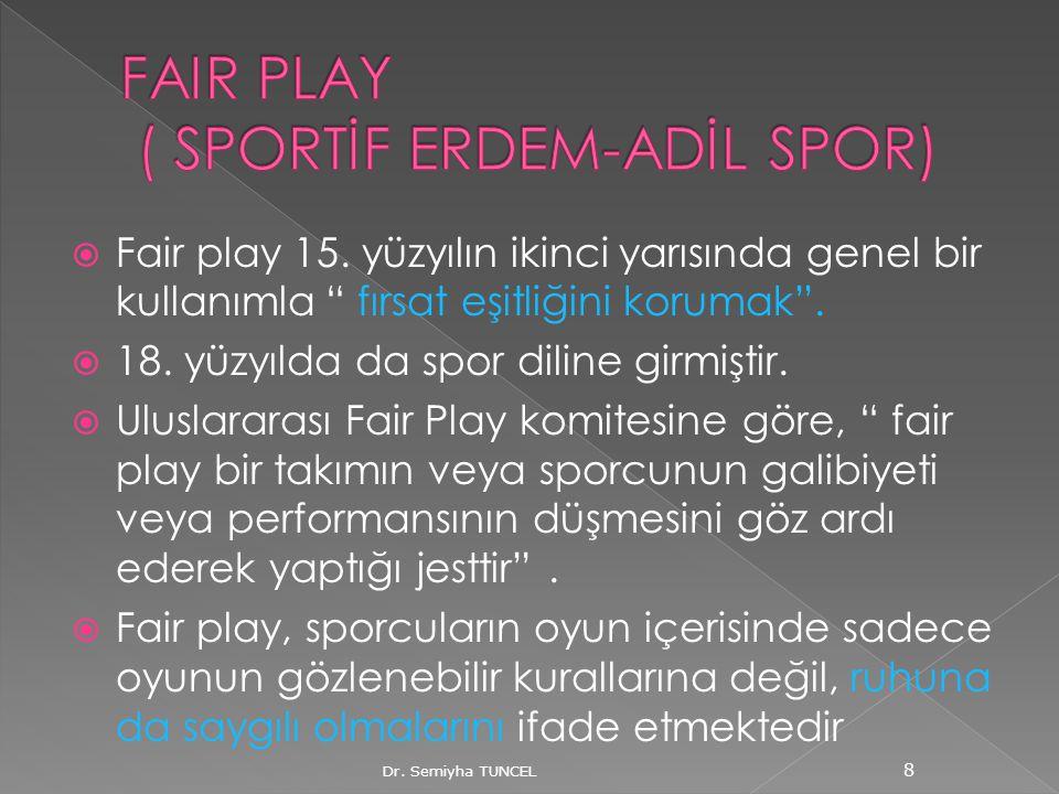 """ Fair play 15. yüzyılın ikinci yarısında genel bir kullanımla """" fırsat eşitliğini korumak"""".  18. yüzyılda da spor diline girmiştir.  Uluslararası F"""