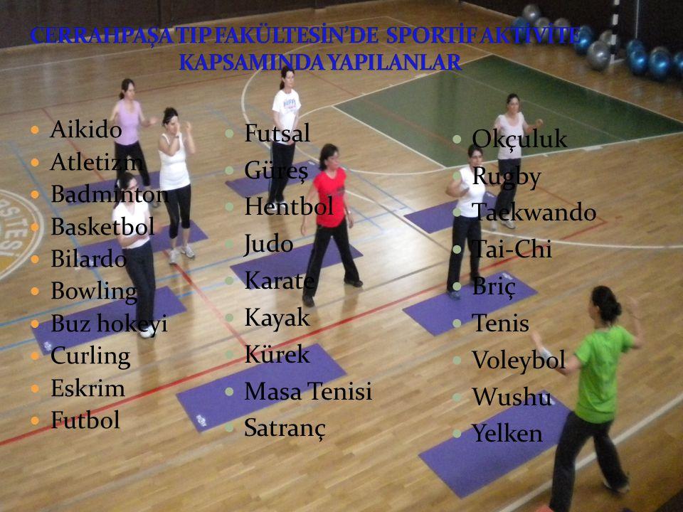 Aikido Atletizm Badminton Basketbol Bilardo Bowling Buz hokeyi Curling Eskrim Futbol Futsal Güreş Hentbol Judo Karate Kayak Kürek Masa Tenisi Satranç