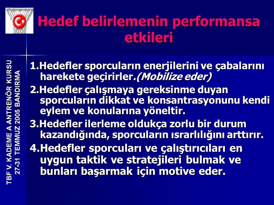 TBF V. KADEME A ANTRENÖR KURSU 27-31 TEMMUZ 2005 BANDIRMA 1.Hedefler sporcuların enerjilerini ve çabalarını harekete geçirirler.(Mobilize eder) 2.Hede