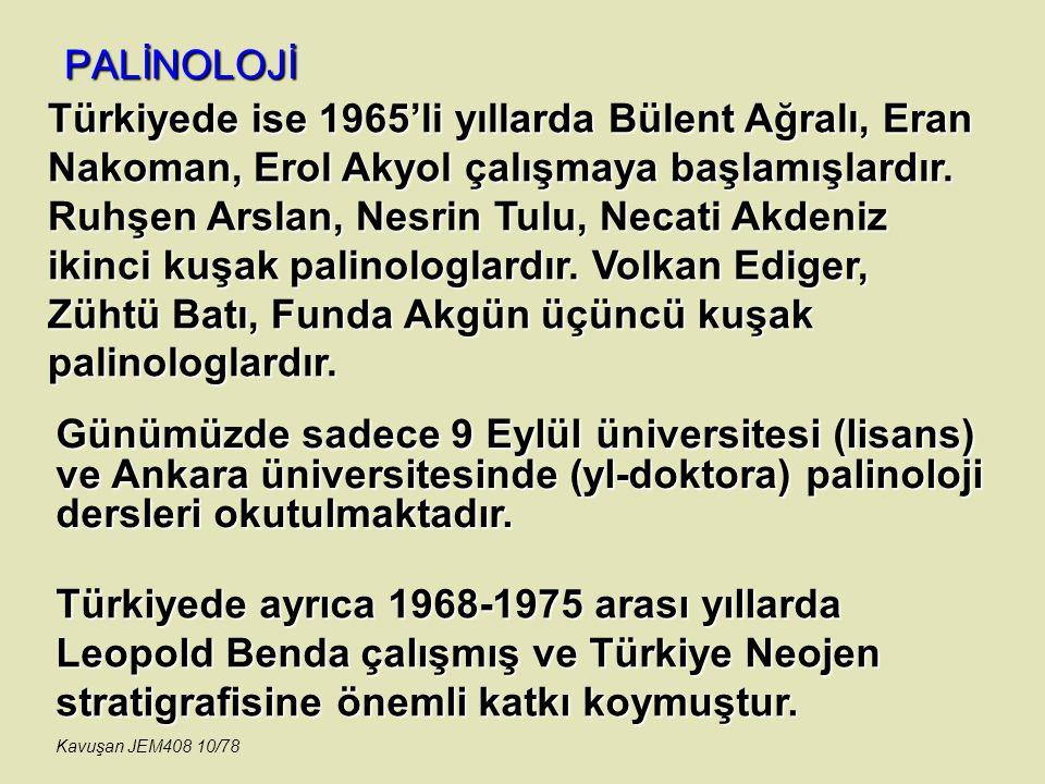 PALİNOLOJİ Günümüzde sadece 9 Eylül üniversitesi (lisans) ve Ankara üniversitesinde (yl-doktora) palinoloji dersleri okutulmaktadır. Türkiyede ayrıca