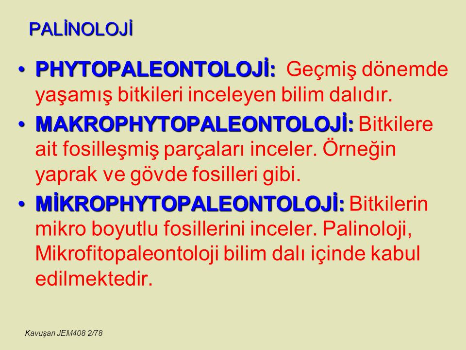 PALİNOLOJİ PHYTOPALEONTOLOJİ:PHYTOPALEONTOLOJİ: Geçmiş dönemde yaşamış bitkileri inceleyen bilim dalıdır. MAKROPHYTOPALEONTOLOJİ:MAKROPHYTOPALEONTOLOJ