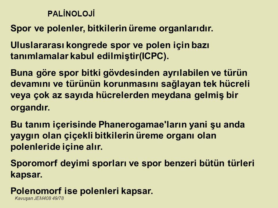 PALİNOLOJİ Spor ve polenler, bitkilerin üreme organlarıdır. Uluslararası kongrede spor ve polen için bazı tanımlamalar kabul edilmiştir(ICPC). Buna gö