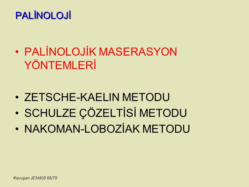PALİNOLOJİ PALİNOLOJİK MASERASYON YÖNTEMLERİ ZETSCHE-KAELIN METODU SCHULZE ÇÖZELTİSİ METODU NAKOMAN-LOBOZİAK METODU Kavuşan JEM408 66/78