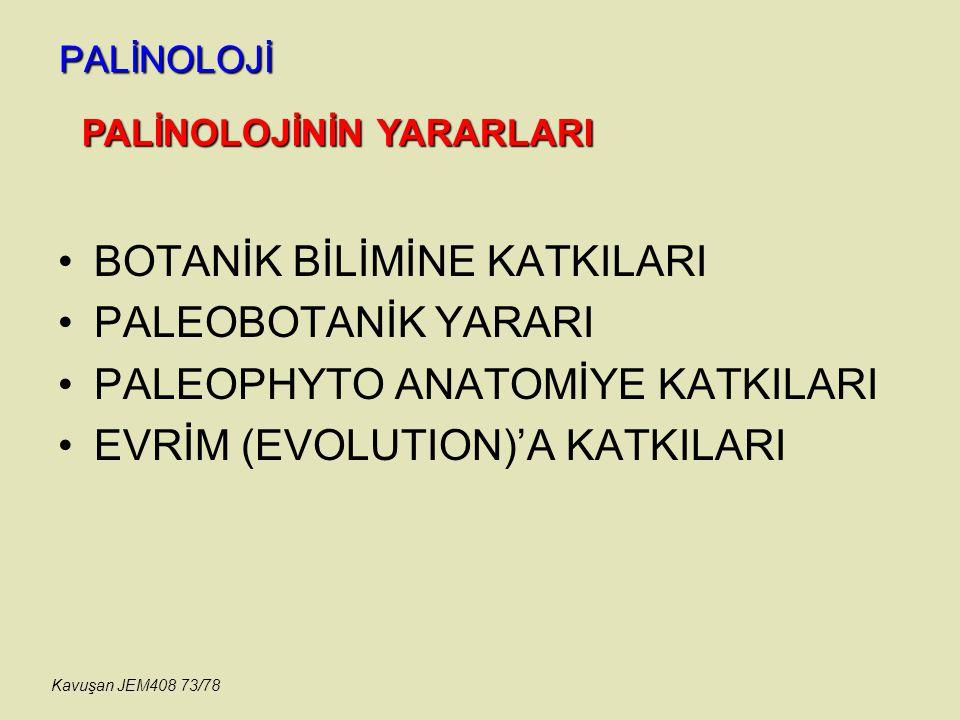 PALİNOLOJİ BOTANİK BİLİMİNE KATKILARI PALEOBOTANİK YARARI PALEOPHYTO ANATOMİYE KATKILARI EVRİM (EVOLUTION)'A KATKILARI PALİNOLOJİNİN YARARLARI Kavuşan