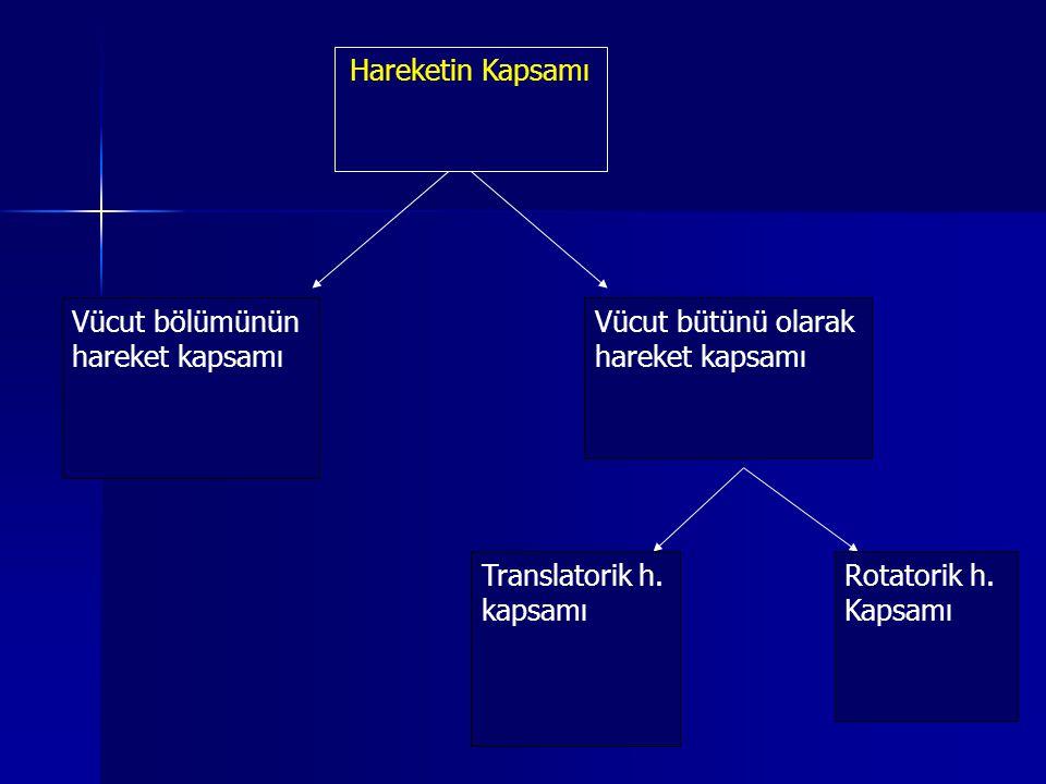 Hareketin Kapsamı Vücut bölümünün hareket kapsamı Vücut bütünü olarak hareket kapsamı Translatorik h. kapsamı Rotatorik h. Kapsamı