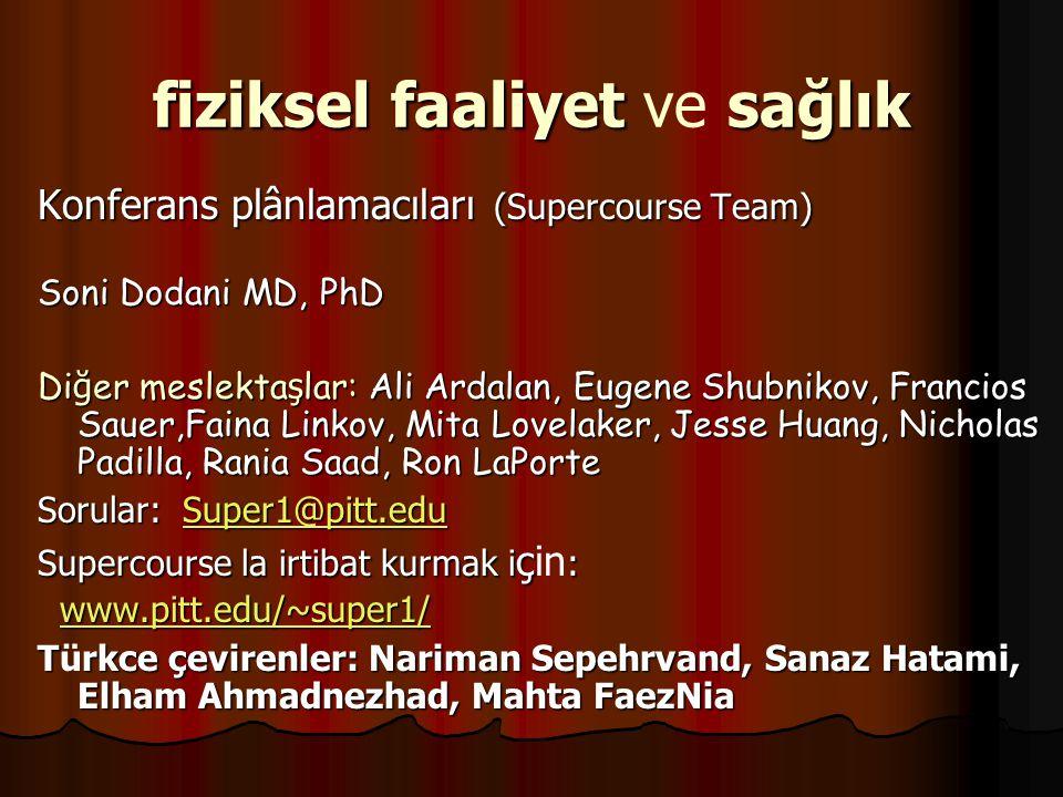 fizikselfaaliyet sağlık fiziksel faaliyet ve sağlık Konferans plânlamacıları (Supercourse Team) Soni Dodani MD, PhD Di ğ er meslekta ş lar: Ali Ardala