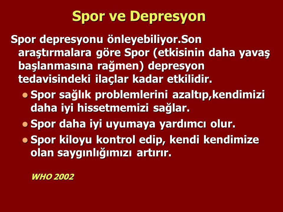 Spor ve Depresyon Spor depresyonu önleyebiliyor.Son araştırmalara göre Spor (etkisinin daha yavaş başlanmasına ra) depresyon tedavisindeki ilaçlar kad