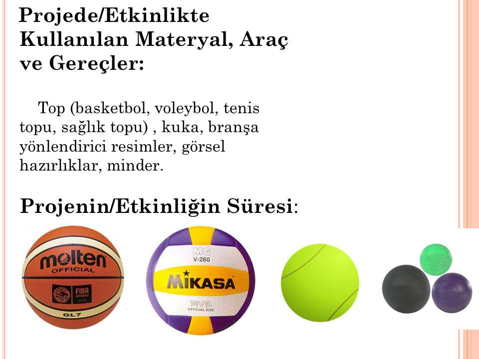 Projede/Etkinlikte Kullanılan Materyal, Araç ve Gereçler: Top (basketbol, voleybol, tenis topu, sağlık topu), kuka, branşa yönlendirici resimler, görsel hazırlıklar, minder.