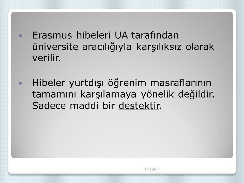 Erasmus hibeleri UA tarafından üniversite aracılığıyla karşılıksız olarak verilir. Hibeler yurtdışı öğrenim masraflarının tamamını karşılamaya yönelik