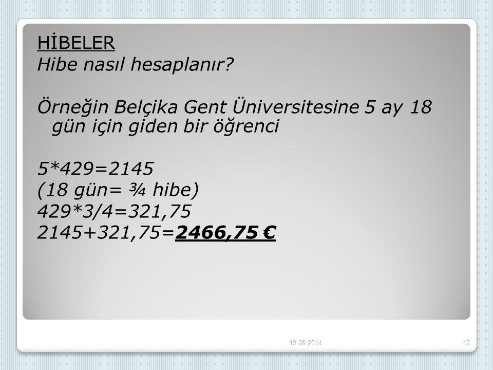 HİBELER Hibe nasıl hesaplanır? Örneğin Belçika Gent Üniversitesine 5 ay 18 gün için giden bir öğrenci 5*429=2145 (18 gün= ¾ hibe) 429*3/4=321,75 2145+