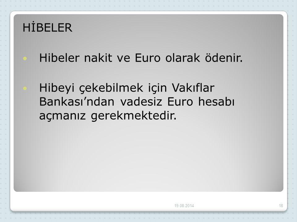 HİBELER Hibeler nakit ve Euro olarak ödenir. Hibeyi çekebilmek için Vakıflar Bankası'ndan vadesiz Euro hesabı açmanız gerekmektedir. 19.08.201418