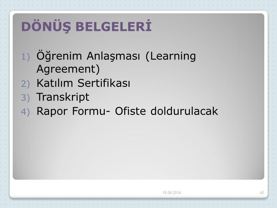 DÖNÜŞ BELGELERİ 1) Öğrenim Anlaşması (Learning Agreement) 2) Katılım Sertifikası 3) Transkript 4) Rapor Formu- Ofiste doldurulacak 19.08.201445