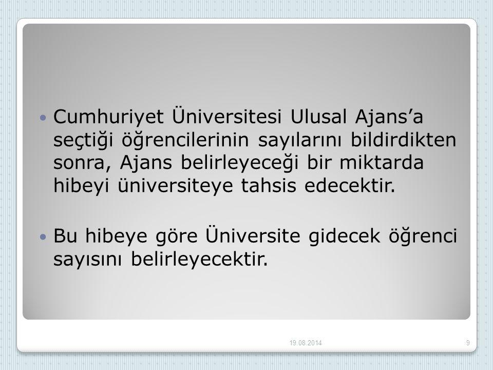 Cumhuriyet Üniversitesi Ulusal Ajans'a seçtiği öğrencilerinin sayılarını bildirdikten sonra, Ajans belirleyeceği bir miktarda hibeyi üniversiteye tahs