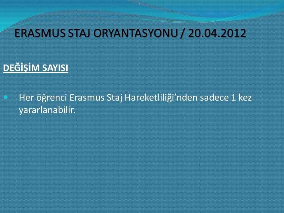 DEĞİŞİM SAYISI Her öğrenci Erasmus Staj Hareketliliği'nden sadece 1 kez yararlanabilir.