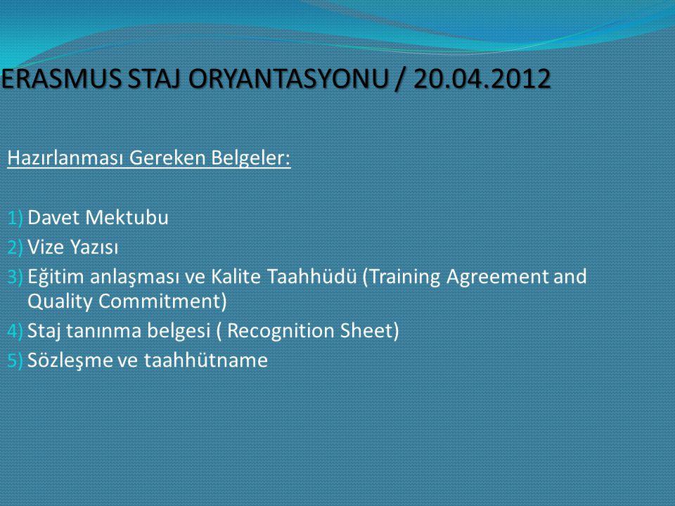 ERASMUS STAJ ORYANTASYONU / 20.04.2012 Hazırlanması Gereken Belgeler: 1) Davet Mektubu 2) Vize Yazısı 3) Eğitim anlaşması ve Kalite Taahhüdü (Training Agreement and Quality Commitment) 4) Staj tanınma belgesi ( Recognition Sheet) 5) Sözleşme ve taahhütname