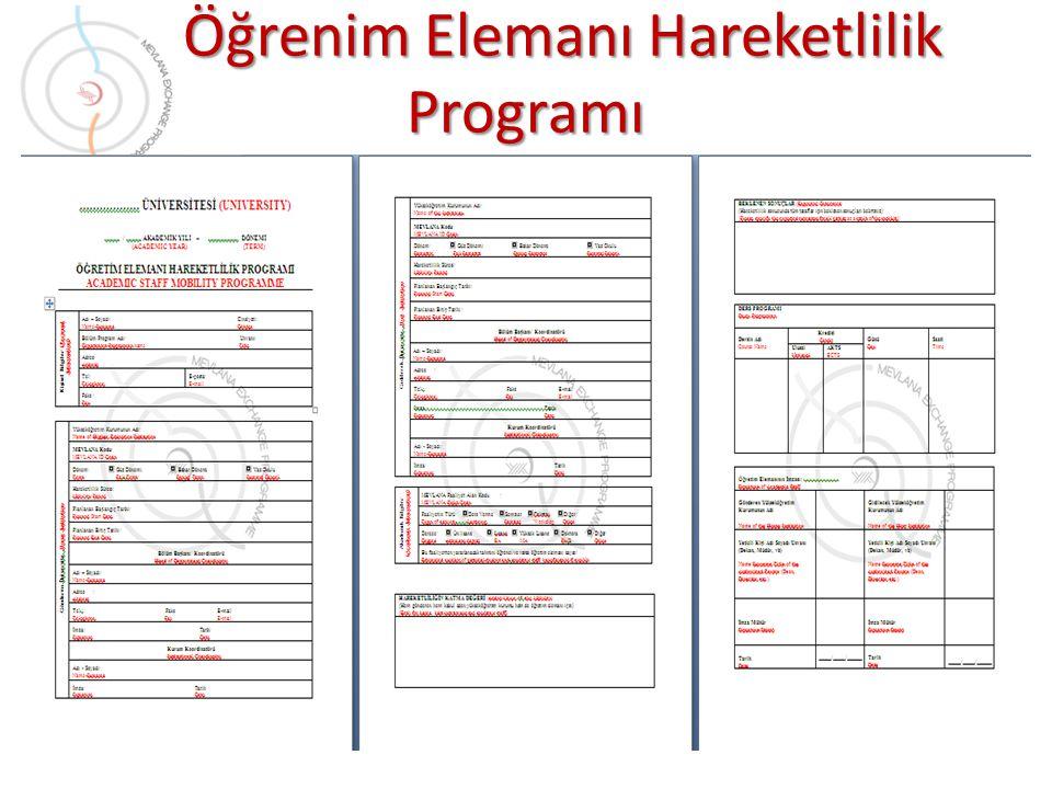 Öğrenim Elemanı Hareketlilik Programı Öğrenim Elemanı Hareketlilik Programı