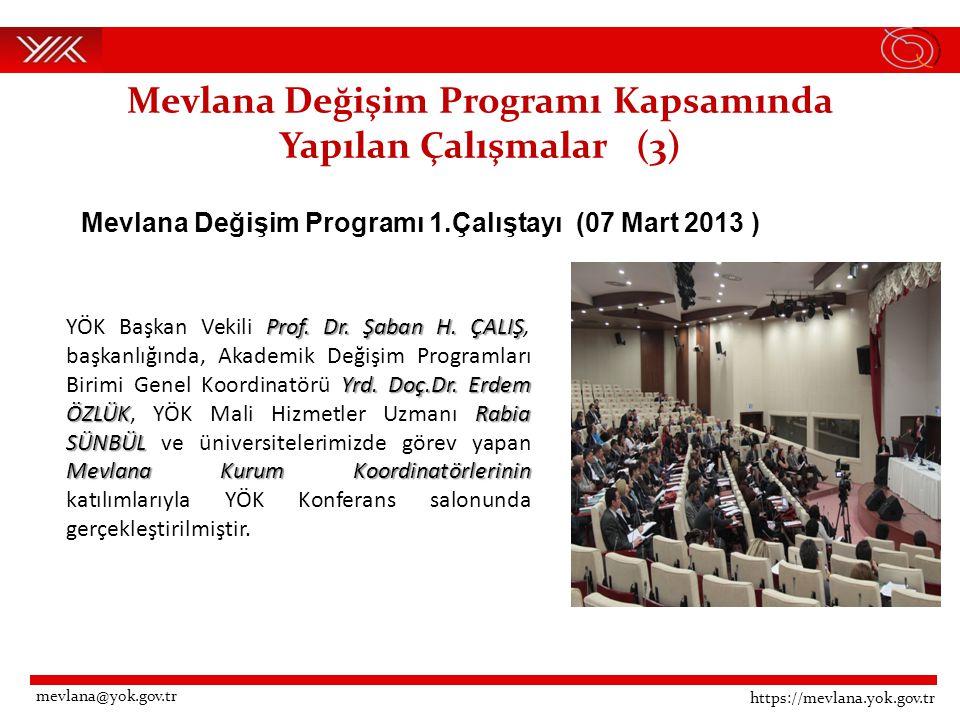Mevlana Değişim Programı Kapsamında Yapılan Çalışmalar (3) Mevlana Değişim Programı 1.Çalıştayı (07 Mart 2013 ) https://mevlana.yok.gov.tr mevlana@yok.gov.tr Prof.