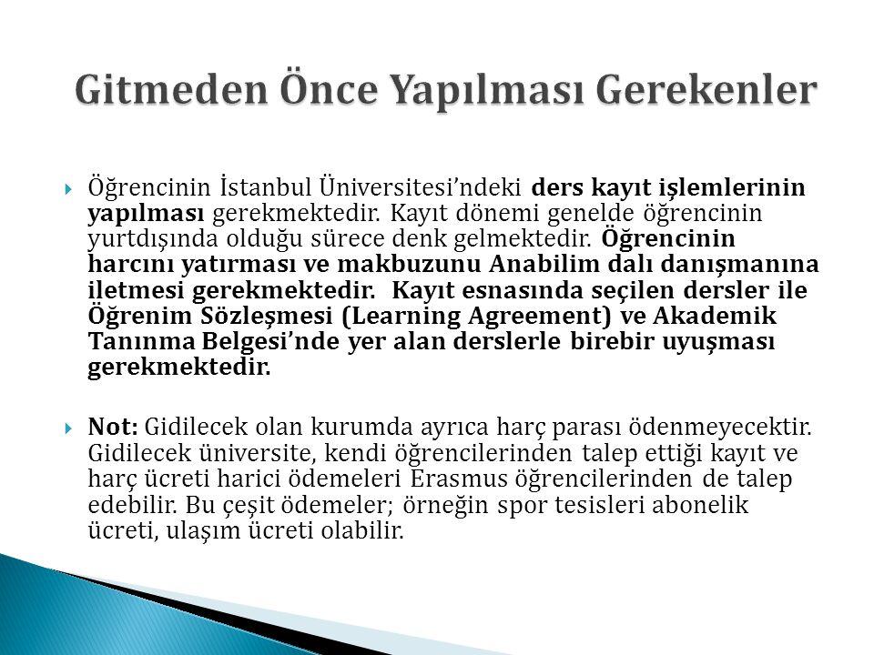  Öğrencinin İstanbul Üniversitesi'ndeki ders kayıt işlemlerinin yapılması gerekmektedir. Kayıt dönemi genelde öğrencinin yurtdışında olduğu sürece de