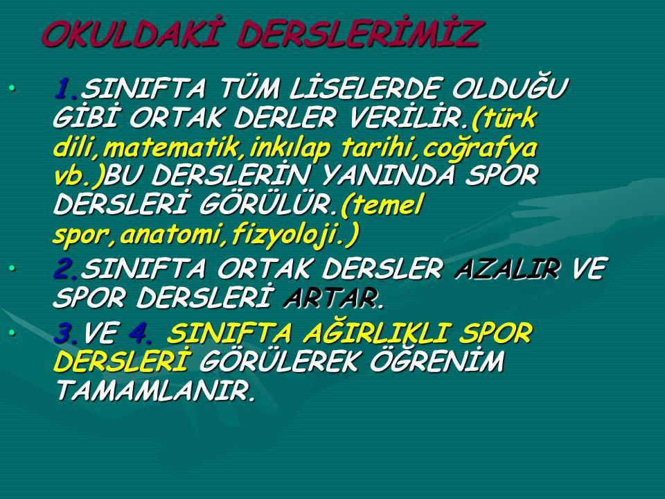 OKULDAKİ DERSLERİMİZ 1.SINIFTA TÜM LİSELERDE OLDUĞU GİBİ ORTAK DERLER VERİLİR.(türk dili,matematik,inkılap tarihi,coğrafya vb.)BU DERSLERİN YANINDA SP