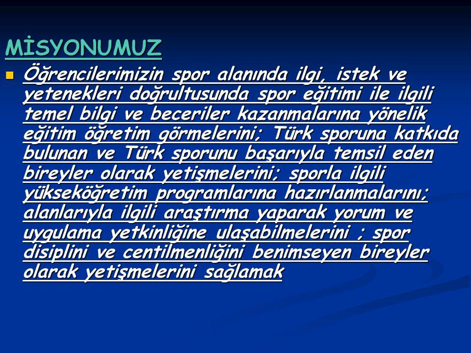 VİZYONUMUZ Öğrencilerinin bedensel, zihinsel ve ahlaki gelişimini tamamlamalarına ortam hazırlayan; eğitim ve spor alanında ulusal ve uluslar arası başarılarıyla adından söz ettiren, gelecekte Türk sporuna yön verecek bireyleri yetiştiren kuruluş olmak.