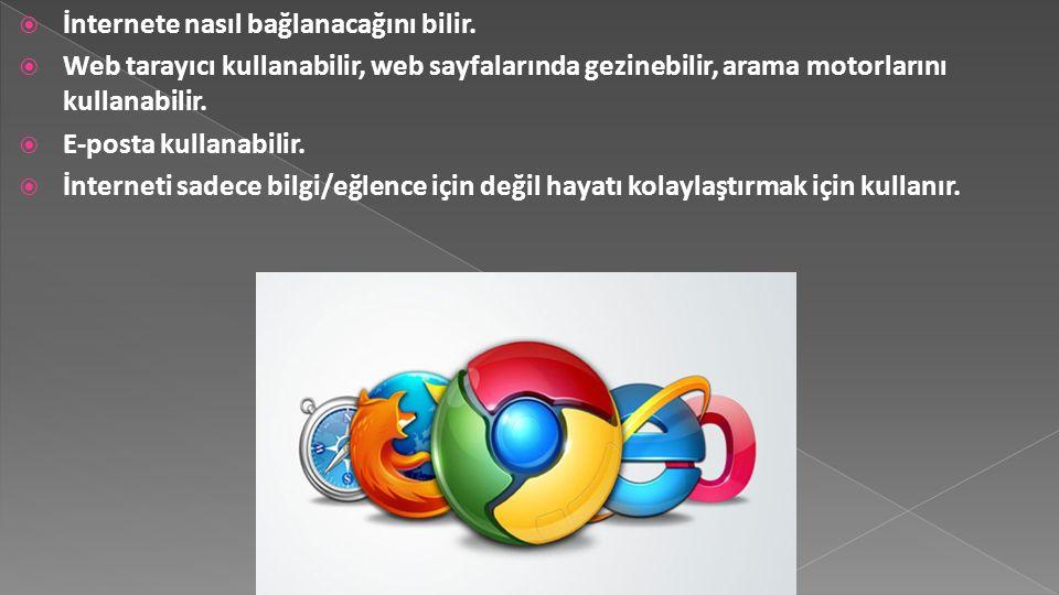  İnternete nasıl bağlanacağını bilir.  Web tarayıcı kullanabilir, web sayfalarında gezinebilir, arama motorlarını kullanabilir.  E-posta kullanabil