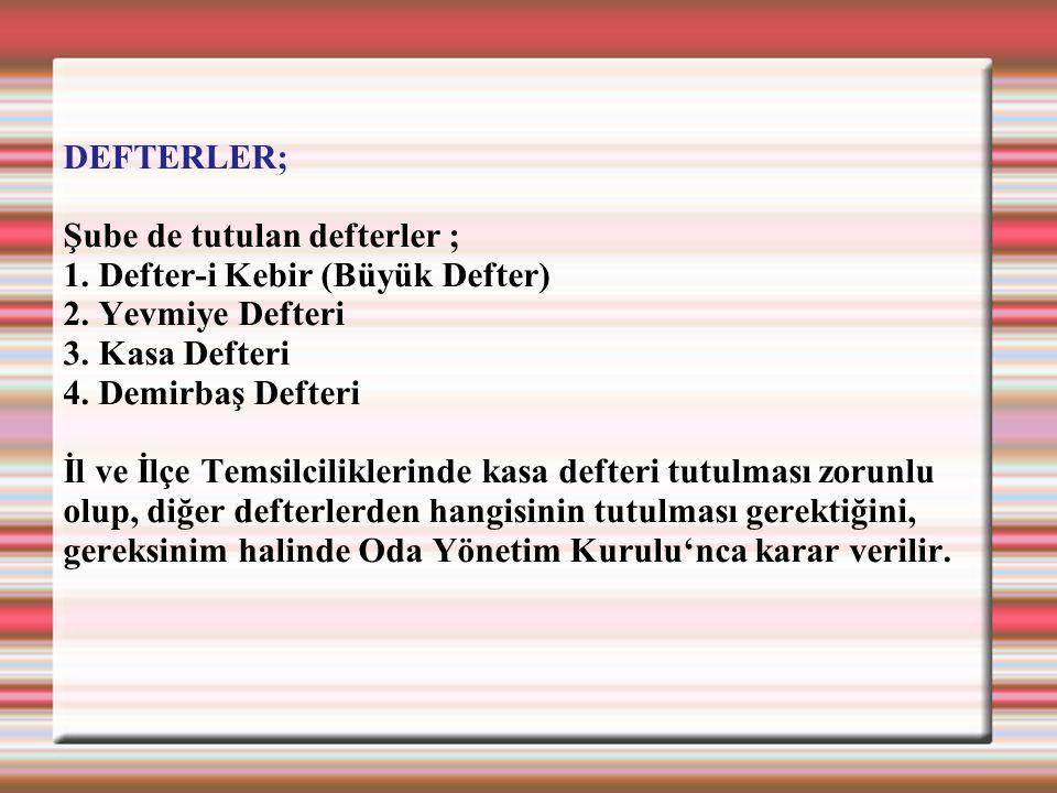 DEFTERLER; Şube de tutulan defterler ; 1. Defter-i Kebir (Büyük Defter) 2. Yevmiye Defteri 3. Kasa Defteri 4. Demirbaş Defteri İl ve İlçe Temsilcilikl