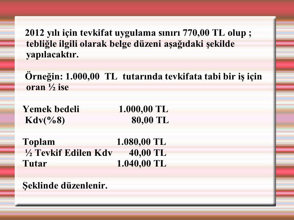 2012 yılı için tevkifat uygulama sınırı 770,00 TL olup ; tebliğle ilgili olarak belge düzeni aşağıdaki şekilde yapılacaktır. Örneğin: 1.000,00 TL tuta