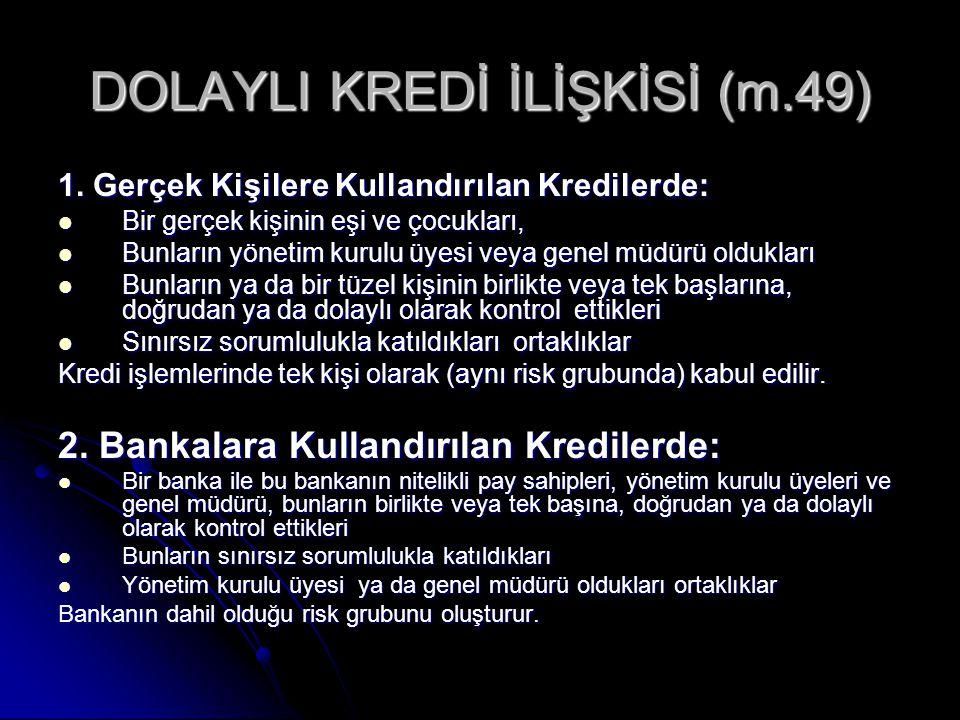 DOLAYLI KREDİ İLİŞKİSİ (m.49) 1.