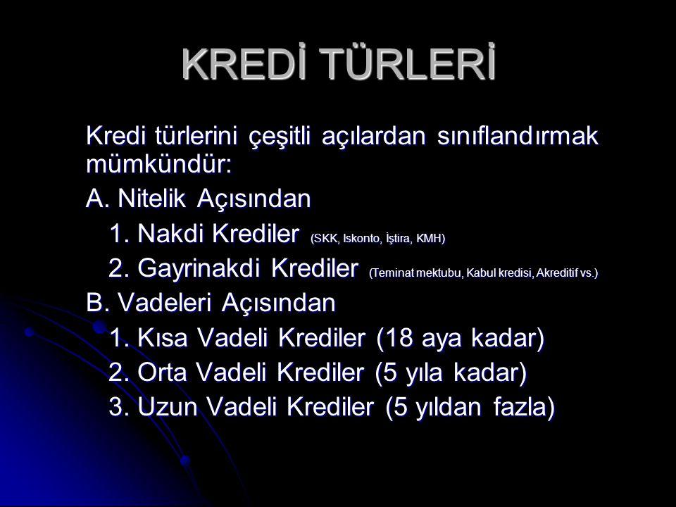 KREDİ TÜRLERİ C.Teminat Açısından 1. Teminatsız Krediler 2.