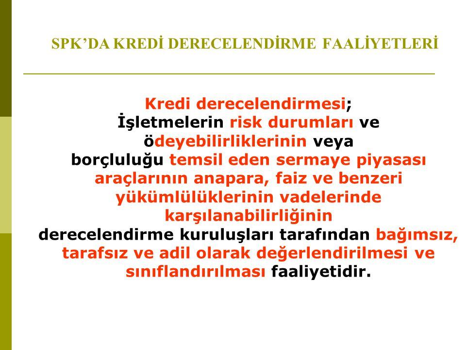 SPK'DA KREDİ DERECELENDİRME FAALİYETLERİ Kredi derecelendirmesi; İşletmelerin risk durumları ve ödeyebilirliklerinin veya borçluluğu temsil eden serma