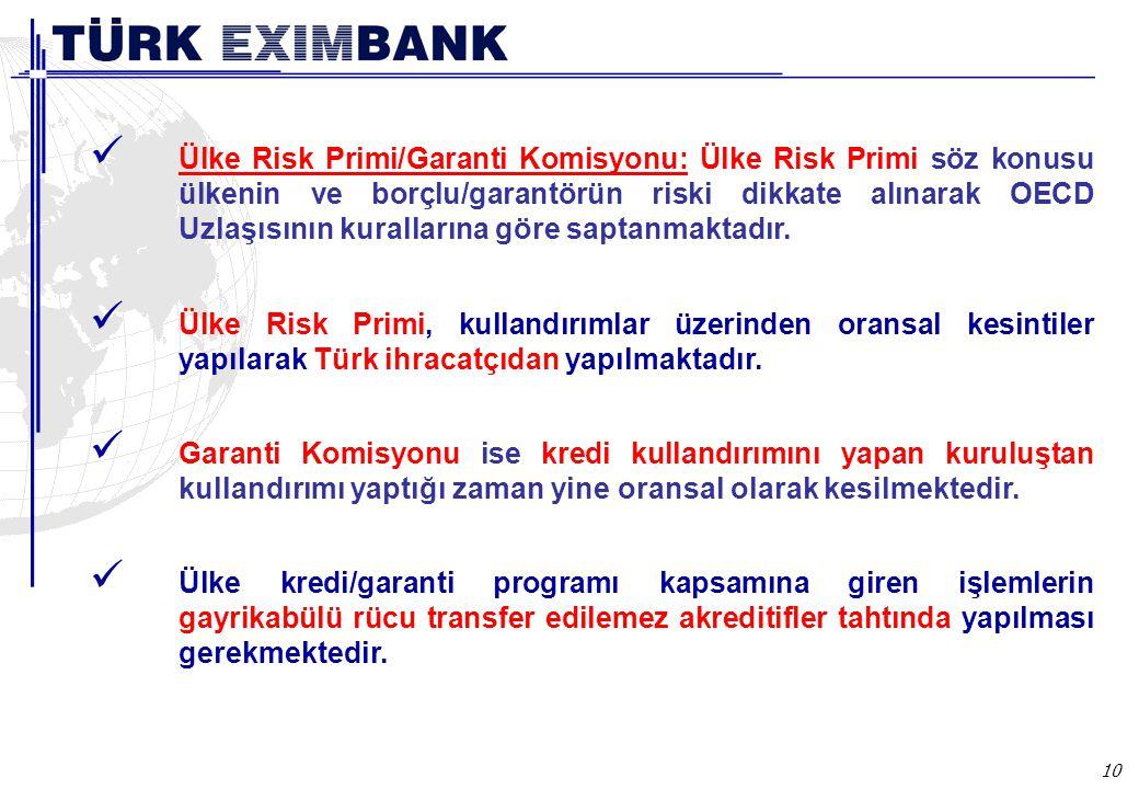 10 Ülke Risk Primi/Garanti Komisyonu: Ülke Risk Primi söz konusu ülkenin ve borçlu/garantörün riski dikkate alınarak OECD Uzlaşısının kurallarına göre