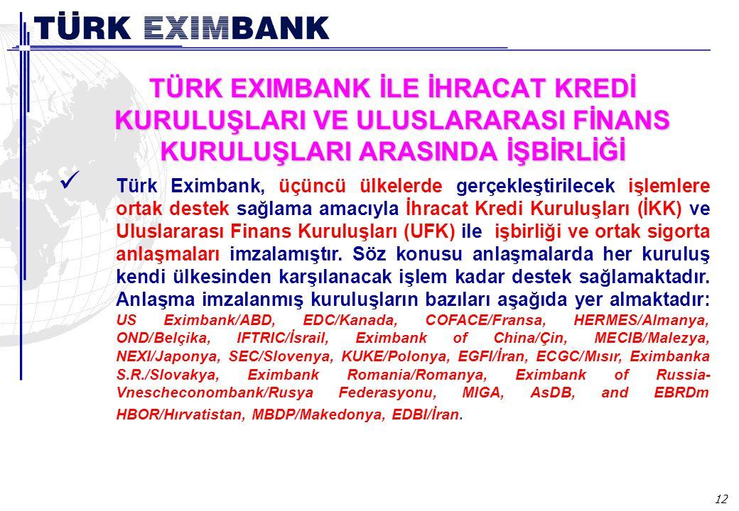 12 TÜRK EXIMBANK İLE İHRACAT KREDİ KURULUŞLARI VE ULUSLARARASI FİNANS KURULUŞLARI ARASINDA İŞBİRLİĞİ Türk Eximbank, üçüncü ülkelerde gerçekleştirilece