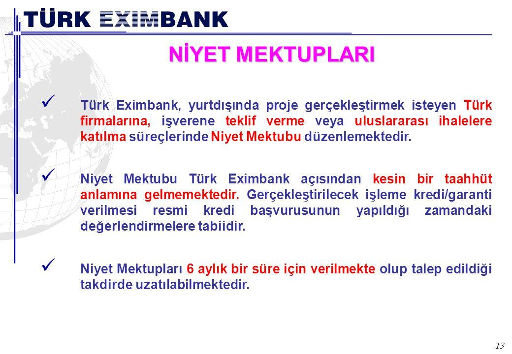 13 NİYET MEKTUPLARI Türk Eximbank, yurtdışında proje gerçekleştirmek isteyen Türk firmalarına, işverene teklif verme veya uluslararası ihalelere katıl
