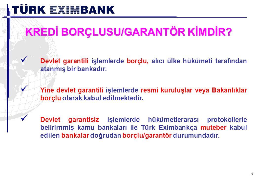 4 KREDİ BORÇLUSU/GARANTÖR KİMDİR? Devlet garantili işlemlerde borçlu, alıcı ülke hükümeti tarafından atanmış bir bankadır. Yine devlet garantili işlem