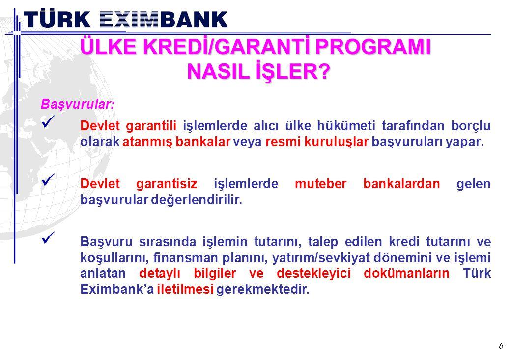 6 ÜLKE KREDİ/GARANTİ PROGRAMI NASIL İŞLER? Başvurular: Devlet garantili işlemlerde alıcı ülke hükümeti tarafından borçlu olarak atanmış bankalar veya