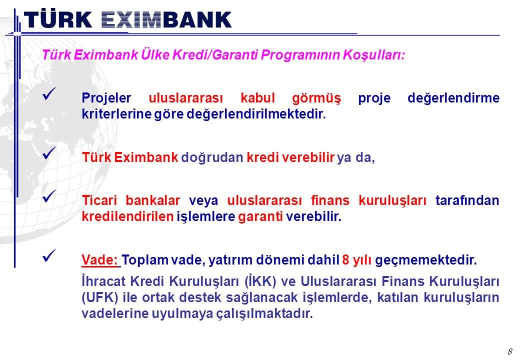 8 Türk Eximbank Ülke Kredi/Garanti Programının Koşulları: Projeler uluslararası kabul görmüş proje değerlendirme kriterlerine göre değerlendirilmekted