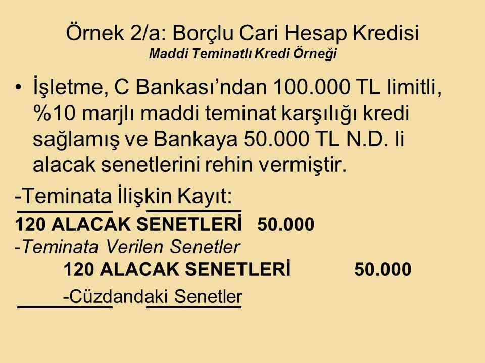 Örnek 2/a: Borçlu Cari Hesap Kredisi Maddi Teminatlı Kredi Örneği İşletme, C Bankası'ndan 100.000 TL limitli, %10 marjlı maddi teminat karşılığı kredi sağlamış ve Bankaya 50.000 TL N.D.