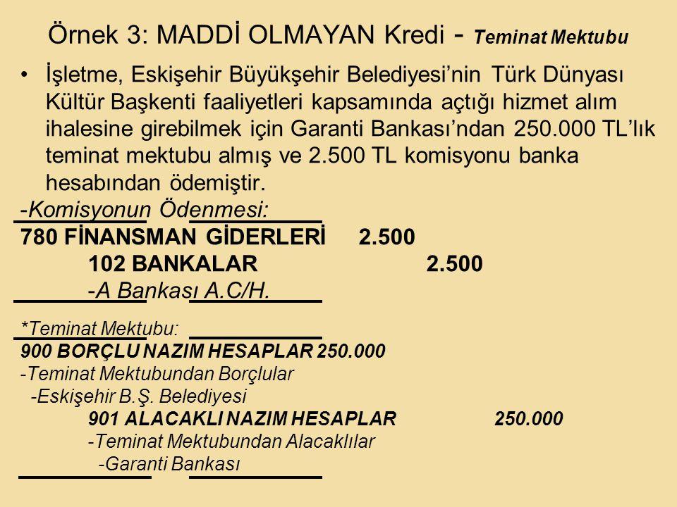 Örnek 3: MADDİ OLMAYAN Kredi - Teminat Mektubu İşletme, Eskişehir Büyükşehir Belediyesi'nin Türk Dünyası Kültür Başkenti faaliyetleri kapsamında açtığı hizmet alım ihalesine girebilmek için Garanti Bankası'ndan 250.000 TL'lık teminat mektubu almış ve 2.500 TL komisyonu banka hesabından ödemiştir.