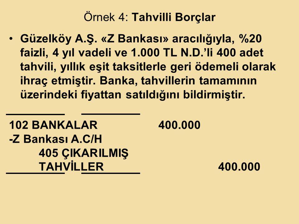 Örnek 4: Tahvilli Borçlar Güzelköy A.Ş.