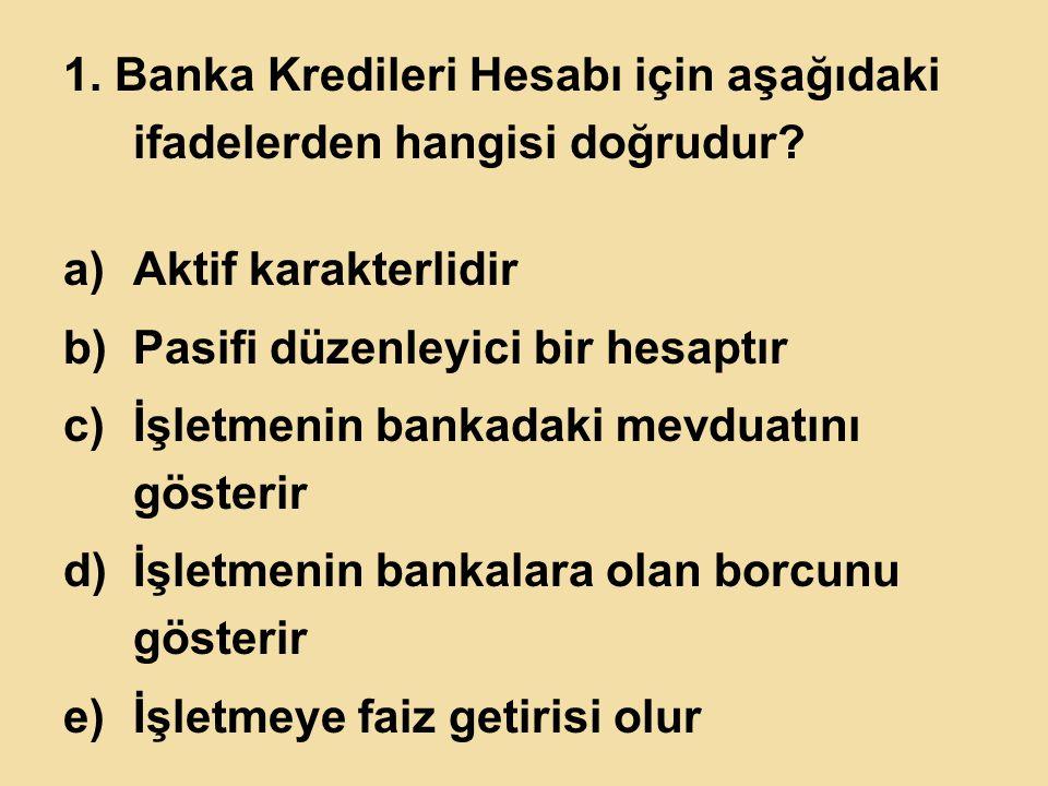 1.Banka Kredileri Hesabı için aşağıdaki ifadelerden hangisi doğrudur.