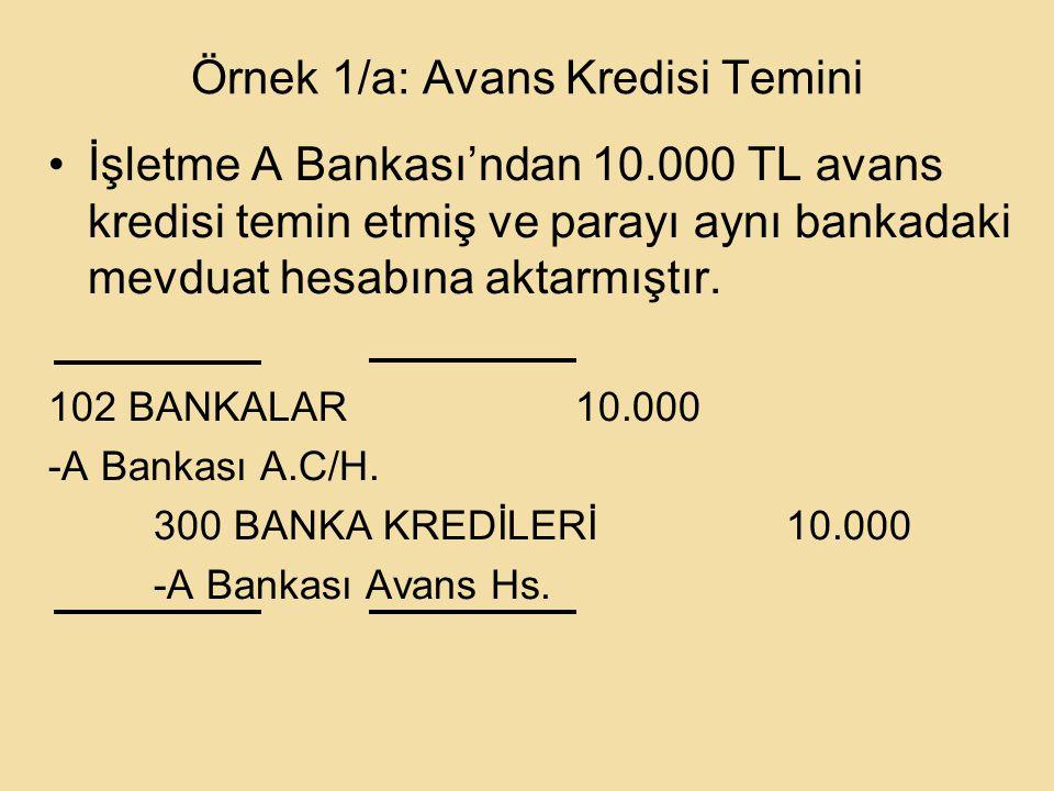 Örnek 1/a: Avans Kredisi Temini İşletme A Bankası'ndan 10.000 TL avans kredisi temin etmiş ve parayı aynı bankadaki mevduat hesabına aktarmıştır.