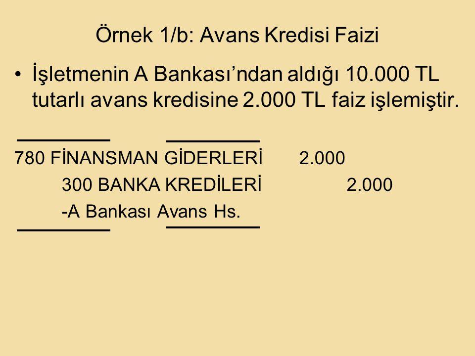 Örnek 1/b: Avans Kredisi Faizi İşletmenin A Bankası'ndan aldığı 10.000 TL tutarlı avans kredisine 2.000 TL faiz işlemiştir.