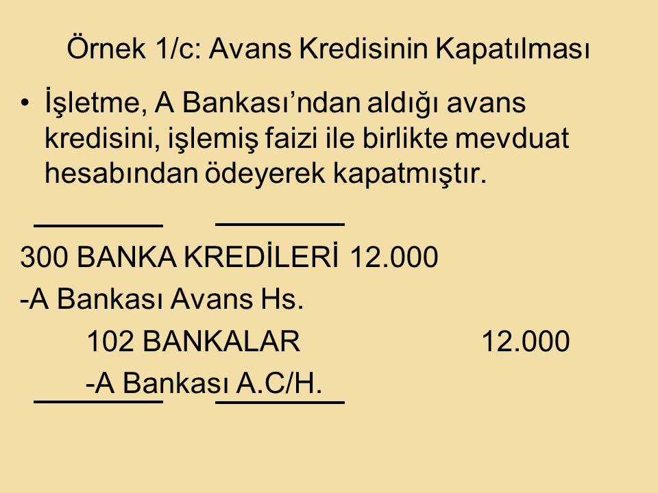 Örnek 1/c: Avans Kredisinin Kapatılması İşletme, A Bankası'ndan aldığı avans kredisini, işlemiş faizi ile birlikte mevduat hesabından ödeyerek kapatmıştır.